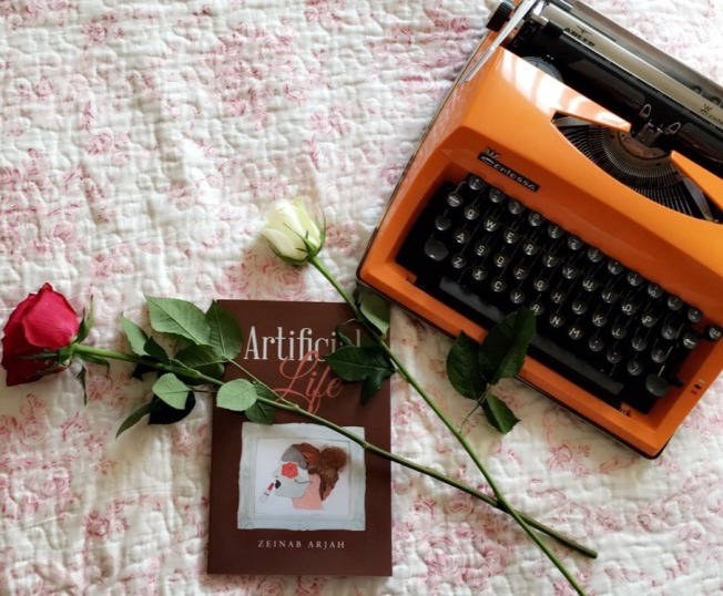Typewriter and book owned by Zeinab Arjah